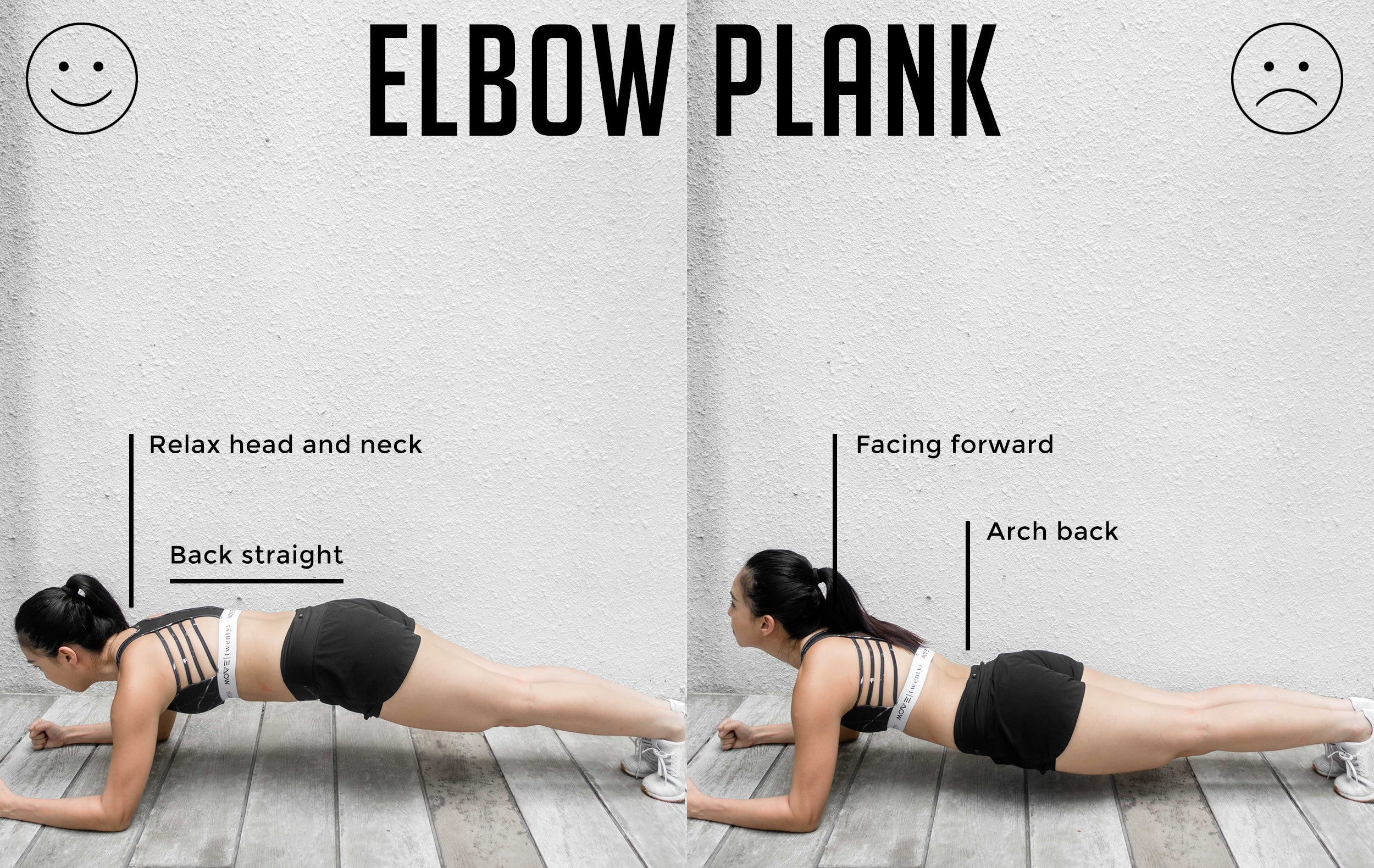 Elbow Plank Good Versus Bad Form