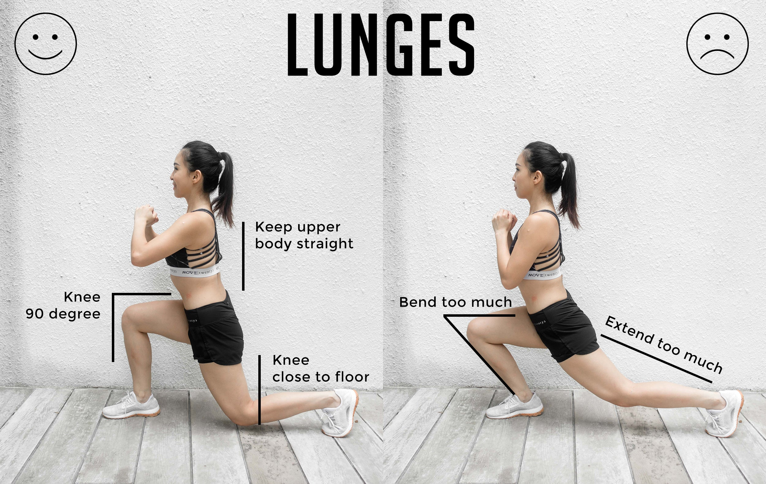Lunges Good Versus Bad Form