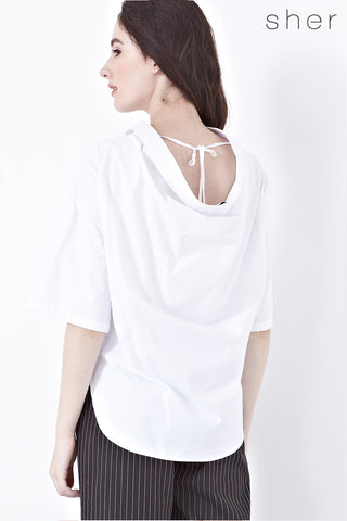 Calista Wide Neck Oversized Top in White - Top - Twenty3