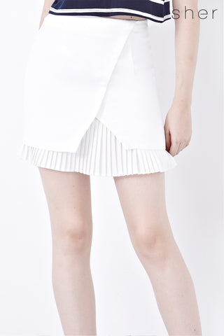 Lily Pleated Hemline Pencil Skirt in White - Bottoms - Twenty3