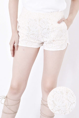 Twenty3 - Donna Lace Overlay Shorts in Cream -  - Bottoms - 1