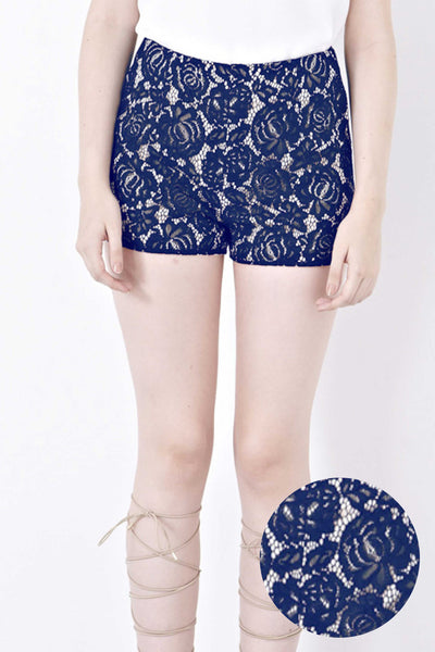 Twenty3 - Donna Lace Overlay Shorts in Navy Blue -  - Bottoms - 1