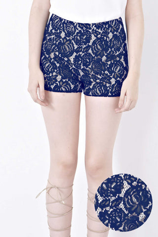 Donna Lace Overlay Shorts in Navy Blue - Bottoms - Twenty3