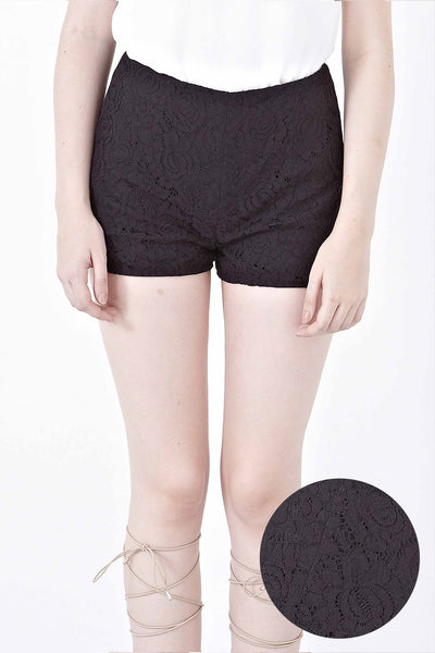 Twenty3 - Donna Lace Overlay Shorts in Black -  - Bottoms - 1