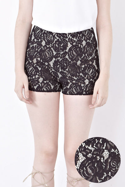 Donna Lace Overlay Shorts in Black - Bottoms - Twenty3