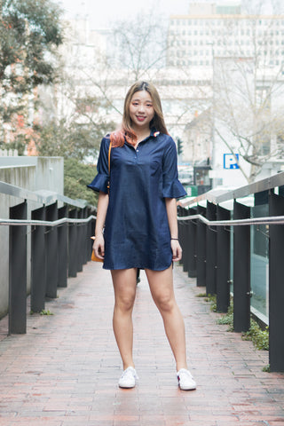 Daia Flute Sleeves Shift Dress in Dark Denim