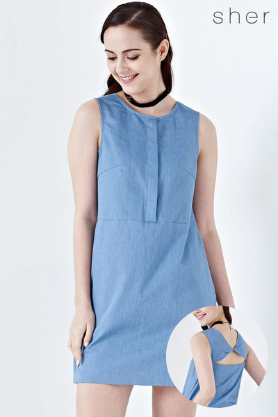Twenty3 - Cerys Back Cut Out Shift Dress in Denim -  - Dresses - 1