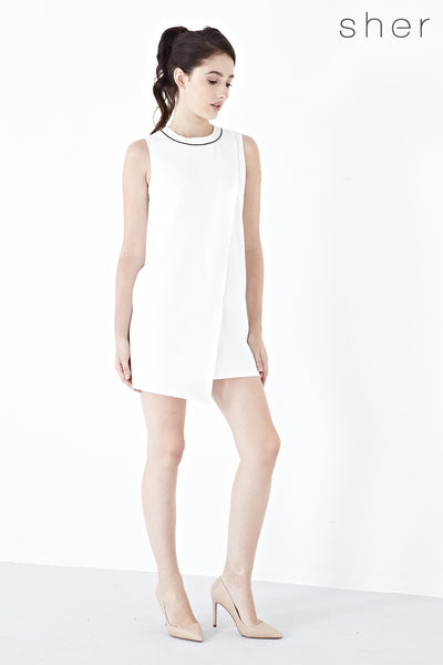 Dorsa Asymmetrical Shift Dress in White - Dresses - Twenty3