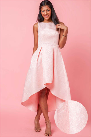 Eudora Skater Dress with High Low Hem in Pink