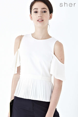 Erin Cold Shoulder Pleated Top in White - Top - Twenty3