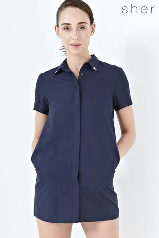 Twenty3 - Natalia Short Sleeves Shirt Dress in Navy Blue -  - Dresses - 1