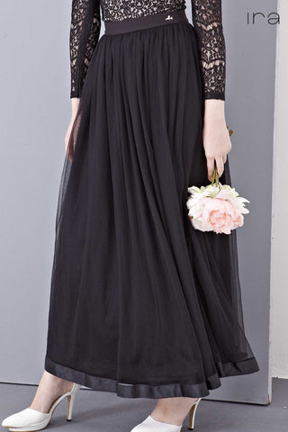 Elie Tulle Maxi Skirt with Ribbon Hem in Black - Bottoms - Twenty3