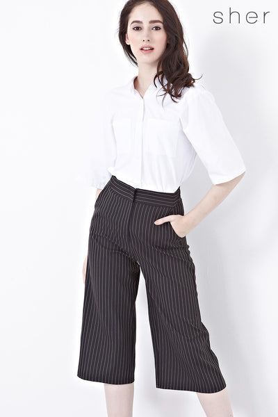 Twenty3 - Xandria Culottes in Black Stripes -  - Bottoms - 1