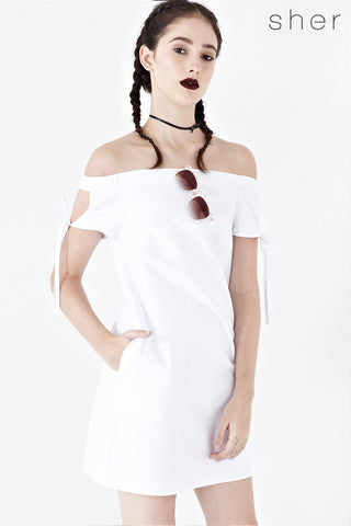 Coleen Off Shoulder Shift Dress in White - Dresses - Twenty3