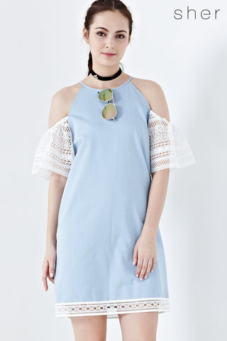 Twenty3 - Cassia Cold Shoulder Shift Dress in Denim -  - Dresses - 1