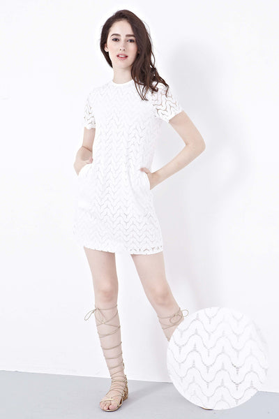 Twenty3 - Lachie Lace Overlay Shift Dress in White -  - Dresses - 1
