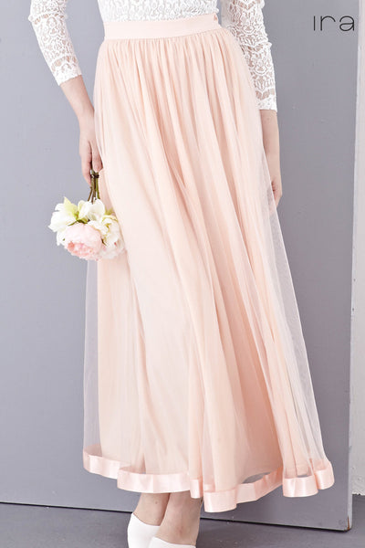 Elie Tulle Maxi Skirt with Ribbon Hem in Salmon Pink - Bottoms - Twenty3