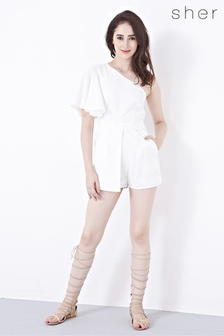 Silvia One Shoulder Playsuit in White - Romper - Twenty3