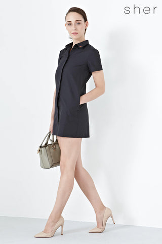 Twenty3 - Natalia Short Sleeves Shirt Dress in Black -  - Dresses - 1
