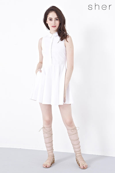 Trina Fit and Flare Shirt Dress in White - Dresses - Twenty3