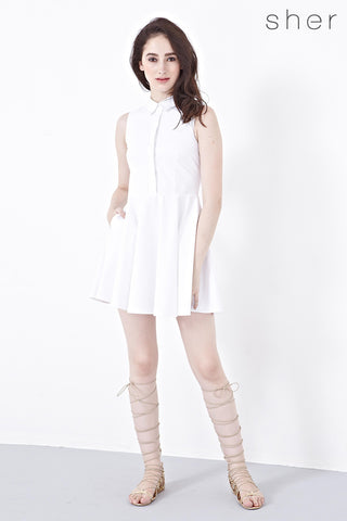Twenty3 - Trina Fit and Flare Shirt Dress in White -  - Dresses - 1