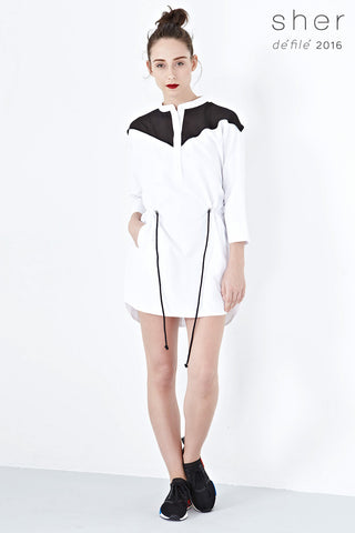 Twenty3 - Elodie Drawstring Organza Panel Shirt Dress in White -  - Dresses - 1