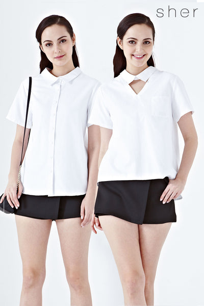 Twenty3 - Twilight Reversible Collared Short Sleeves Top in White -  - Tops - 1