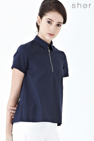 Dacia Overlap Open Back Top in Navy Blue - Top - Twenty3