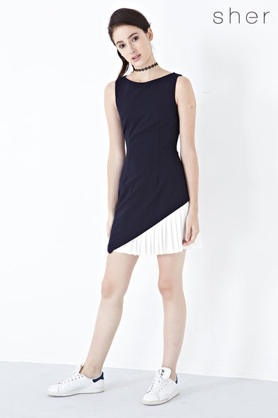Twenty3 - Willow Pleated Panel Dress in Navy Blue -  - Dresses - 1