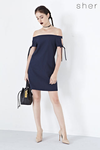 Twenty3 - Coleen Off Shoulder Shift Dress in Navy Blue -  - Dresses - 1