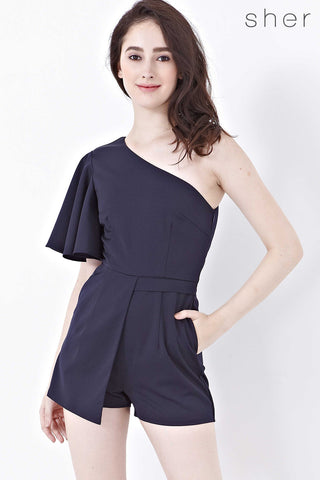 Silvia One Shoulder Playsuit in Navy Blue - Romper - Twenty3