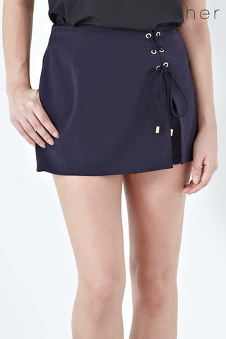 Twenty3 - Kalea Lace Up detail Skort in Navy Blue -  - Bottoms - 1
