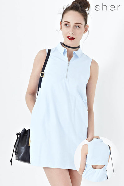 Helga Shift Dress with Back Cut Out Detail in Light Blue - Dresses - Twenty3