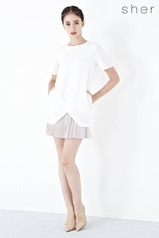 Twenty3 - Rhonda Pleated Hem Shift Dress in White -  - Dresses - 1