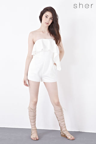 Vanessa Bandeau Playsuit in White - Romper - Twenty3