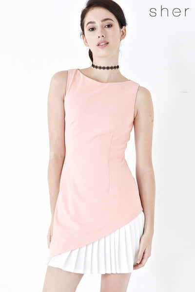Willow Pleated Panel Dress in Pink - Dresses - Twenty3