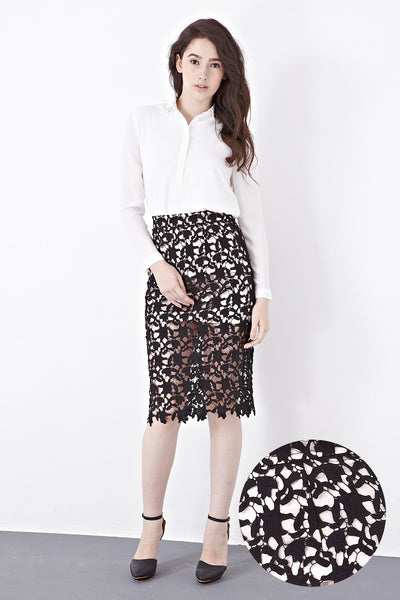 Edme Lace Overlay Pencil Skirt in Black - Bottoms - Twenty3