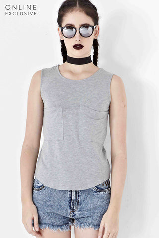 Danton Tank Top in Light Grey - Top - Twenty3