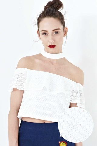 Twenty3 - Mikayla Lace Overlay Off Shoulder Top in White -  - Tops - 1
