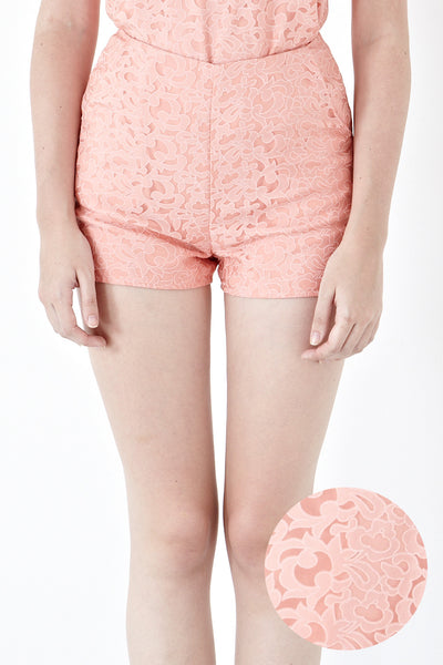 Misty Printed Organza Shorts in Salmon Pink - Bottoms - Twenty3