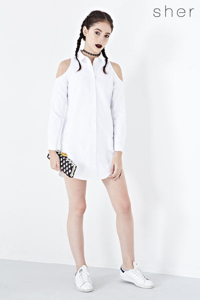 Adalene Cold Shoulder Shirt Dress in White - Dresses - Twenty3