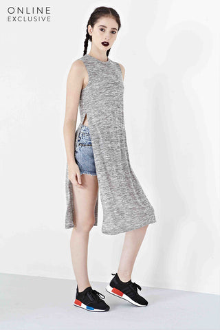 Twenty3 - Marq Long Top with Side Slits in Grey -  - Top - 1