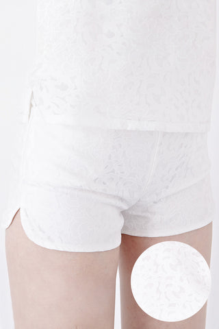 Misty Printed Organza Shorts in White - Bottoms - Twenty3