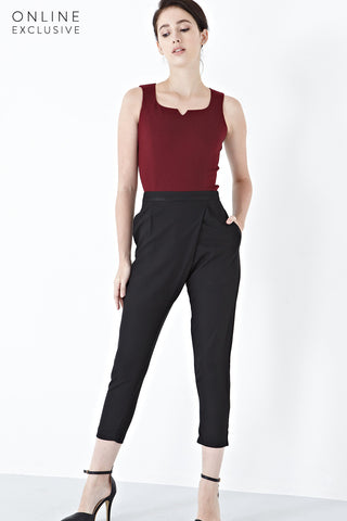 Twenty3 - Paige Drape Front Long Pants in Black -  - Bottoms - 1