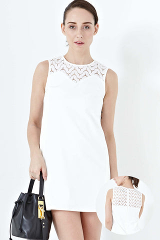 Elva Lace Panel Shift Dress in White - Dresses - Twenty3