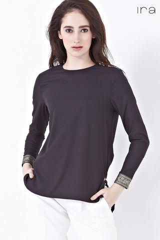 Mirah Long Sleeve Top with Cuff Embroidery in Black - Tops - Twenty3