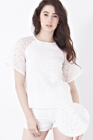 Twenty3 - Misty Printed Organza Top in White -  - Top - 1