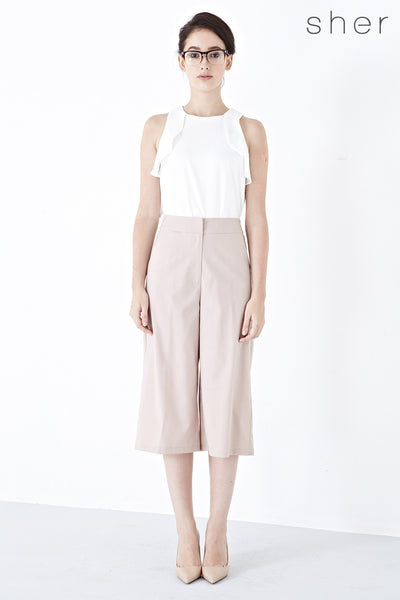 Xandria Culottes in Beige - Bottoms - Twenty3