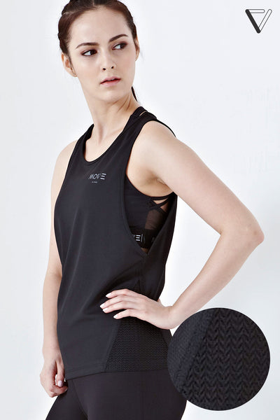 Twenty3 - Xora Mesh Panelled Tank Top in Black -  - Sports Top - 1