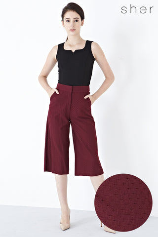 Xandria Lace Overlay Culottes in Burgundy - Bottoms - Twenty3